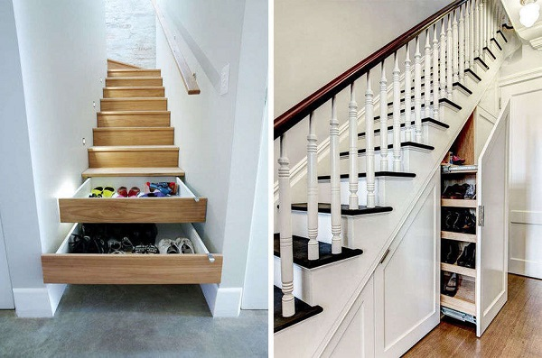 24 ideas para guardar los zapatos for Ideas para hacer escaleras interiores